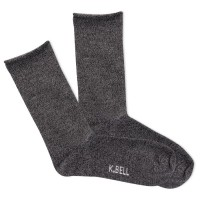 K.Bell Women's Marl Roll Top Crew Socks 1 Pair, Black Marl, Women's 4-10 Shoe