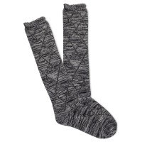 K.Bell Women's Scallop Random Feed Diamond Knee High Socks 1 Pair, Black, Women's 4-10 Shoe