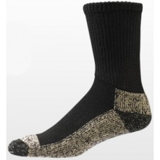 Aetrex Copper Sole Socks, Non-Binding Cushion, Crew, Black