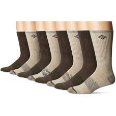 Columbia Cotton Heathered Med-weight Crew Socks, Khaki/Brown, M 10-13, 4 Pair