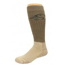 Ducks Unlimited Heavy Tall Merino Wool Boot Socks, 1 Pair, Nat/Mocha, Large, W 9-12 / M 9-13