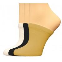 FootGalaxy Premium Clog Socks 3 Pair, Black/White/Nude