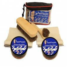 FeetPeople Deluxe Leather Care Kit with Travel Bag, Mahogany