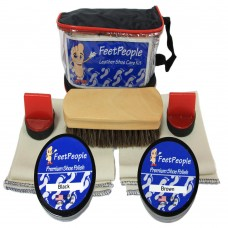 FeetPeople Premium Leather Care Kit with Travel Bag, Black & Brown