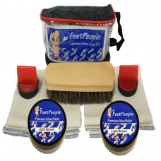 FeetPeople Premium Leather Care Kit with Travel Bag, Light Brown