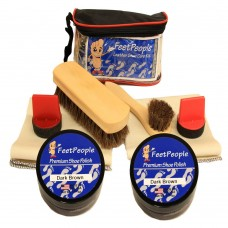 FeetPeople Ultimate Leather Care Kit with Travel Bag, Dark Brown