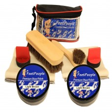 FeetPeople Ultimate Leather Care Kit with Travel Bag, Light Brown