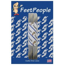 FeetPeople Strong Flat Laces, Gray Reinforced w/ Natural Kevlar