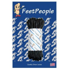 FeetPeople Strong Round Laces, Black Reinforced w/ Black Kevlar