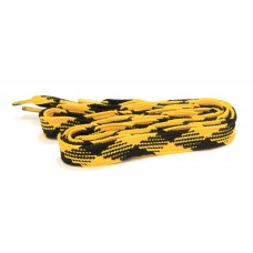 FeetPeople High Quality Fat Laces For Boots And Shoes, Black/Gold Argyle