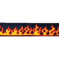 FootGalaxy Black with Fire Printed Shoe Laces