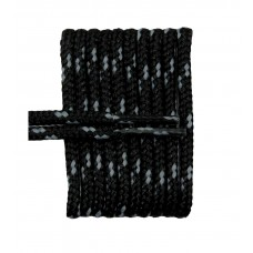 FootGalaxy High Quality Round Laces For Boots And Shoes, Black With Silver Chip