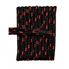 FootGalaxy High Quality Round Laces For Boots And Shoes, Black With Red Chip
