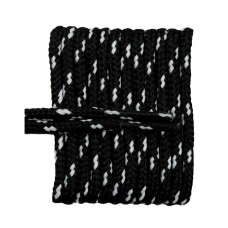 FootGalaxy High Quality Round Laces For Boots And Shoes, Black With White Chip