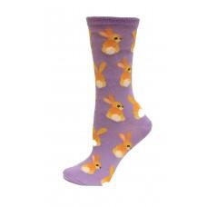 HotSox Bunny Tails Socks, Lavender, 1 Pair, Women Shoe 4-10
