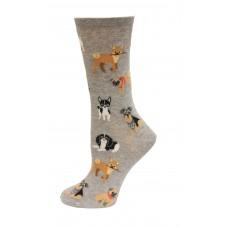 HotSox Dogs Of The World Socks, Grey Heather, 1 Pair, Women Shoe 4-10
