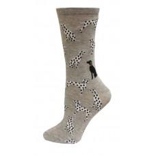 HotSox Dalmatians Socks, Grey Heather, 1 Pair, Women Shoe 4-10