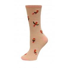 HotSox Bird On Stripe Socks, Pink Heather, 1 Pair, Women Shoe 4-10