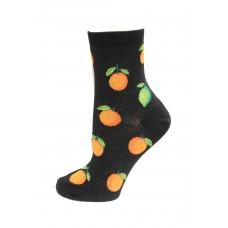 HotSox Citrus Socks, Black, 1 Pair, Women Shoe 4-10