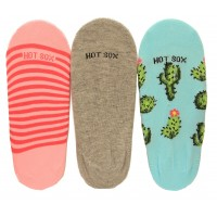 Hotsox Women's No Show Cactus Socks 3 Pair, Assorted, Women's Shoe 4-10