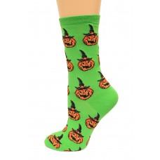 Hot Socks Jack O Lantern Women's Socks 1 Pair, Bright Green, Women's Shoe Size 9-11
