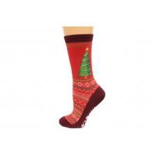Hot Socks Christmas Tree Non Skid Women's Socks 1 Pair, Red, Women's Shoe Size 9-11