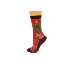 Hot Socks Christmas Cactus Non Skid Women's Socks 1 Pair, Red, Women's Shoe Size 9-11