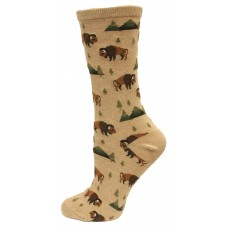 Hotsox Women's Crew Bison Socks 1 Pair, Hemp Heather, Women's Shoe 4-10