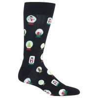 HotSox Mens Snowglobes Socks, Black, 1 Pair, Mens Shoe 6-12.5