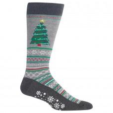 HotSox Mens Christmas Tree Non Skid Socks, Sweatshirt Grey Heather, 1 Pair, Mens Shoe 6-12.5