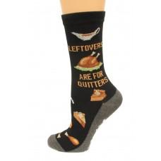 Hot Socks Leftovers Are For Quitters NSkid Women's Socks 1 Pair, Black, Women's Shoe Size 9-11