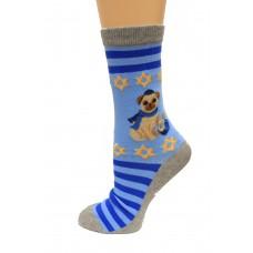 Hot Socks Hannukah Pug Non Skid Women's Socks 1 Pair, Light Blue, Women's Shoe Size 9-11
