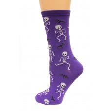 Hot Socks Dancing Skeletons Women's Socks 1 Pair, Purple, Women's Shoe Size 9-11