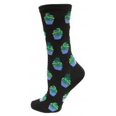 Hotsox Women's Crew Irish Cupcakes Socks 1 Pair, Black, Women's Shoe 4-10