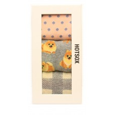 Hotsox Women's Crew Pomeranian Gift Box Socks 3 Pair, Assorted, Women's Shoe 4-10