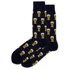 HotSox Bow Tie Beer Socks, Navy, 1 Pair, Men Shoe 6-12.5