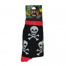 K. Bell Boy's Skulls, Black, Sock Size 7.5-9/Shoe Size 11-4, 1 Pair