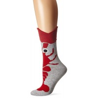 K. Bell Wide Mouth Lobster Crew Socks, Gray Heather, Sock Size 9-11/Shoe Size 4-10, 1 Pair
