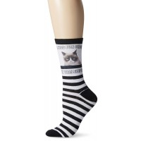 K. Bell Women's Grumpy Cat I had Fun Once Socks, Black/White, Sock Size 9-11/Shoe Size 4-10, 1 Pair