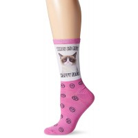 K. Bell Women's Grumpy Cat Happy Face Crew Socks , Fuchsia, Sock Size 9-11/Shoe Size 4-10, 1 Pair