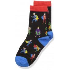 K. Bell Boy's Super Heroes Crew, Black, Sock Size 7.5-9/Shoe Size 11-4, 1 Pair