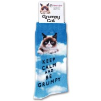K. Bell Women's Grumpy Cat Keep Calm & Be Grumpy Crew Socks, Blue, Sock Size 9-11/Shoe Size 4-10, 1 Pair