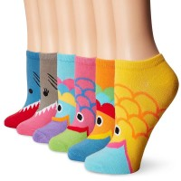 K. Bell Wide Mouth No Show Socks, Multi Bright, Sock Size 9-11/Shoe Size 4-10, 6 Pair