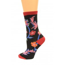 K. Bell Abstract Floral Crew Socks, Black, Sock Size 9-11/Shoe Size 4-10, 1 Pair