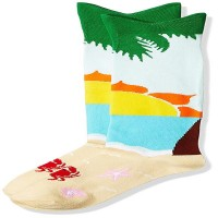 K. Bell Wide Mouth Palm Tree Knee High Socks, Blue, Sock Size 9-11/Shoe Size 4-10, 1 Pair