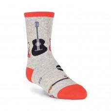 K. Bell Boy's Guitars Crew Socks, Gray Heather, Sock Size 7.5-9/Shoe Size 11-4, 1 Pair