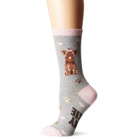K. Bell Yorkie Crew Socks, Gray Heather, Sock Size 9-11/Shoe Size 4-10, 1 Pair