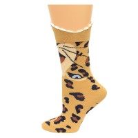K. Bell Wide Mouth Leopard Crew Socks, Brown, Sock Size 9-11/Shoe Size 4-10, 1 Pair