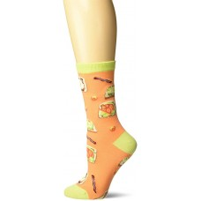 K. Bell Avocado Toast Crew Socks 1 Pair, Coral, Womens Sock Size 9-11/Shoe Size 4-10