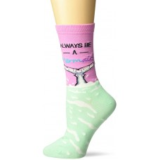 K. Bell Always Be A Mermaid Crew Socks 1 Pair, Pink, Womens Sock Size 9-11/Shoe Size 4-10